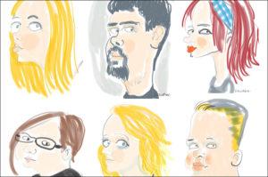 karykatury na tablecie rysownik
