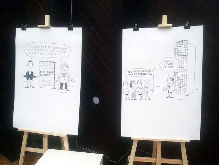 rysunki humor na żywo Warszawa