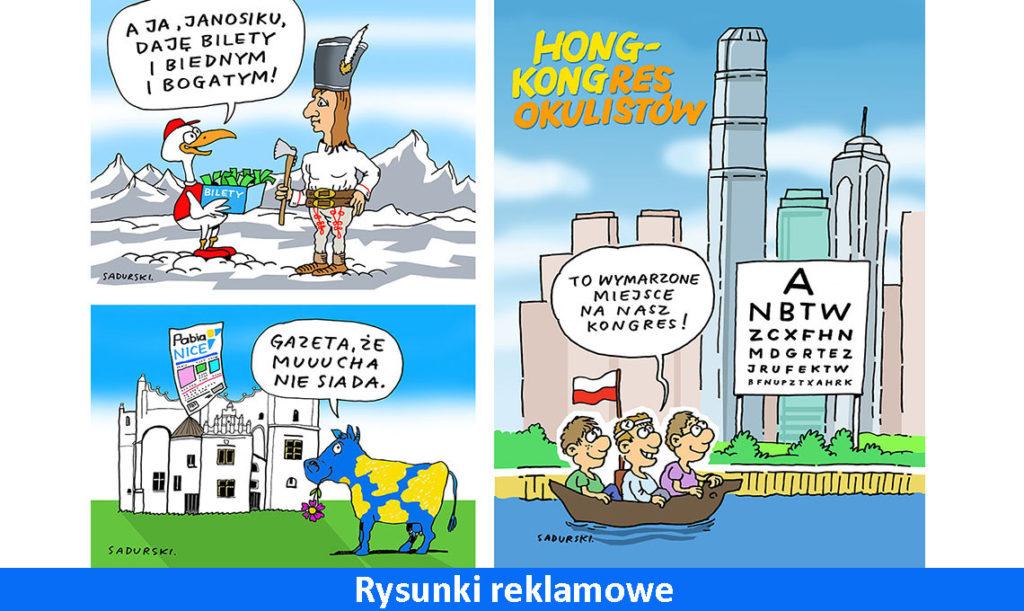 rysunki reklamowe humorystyczne