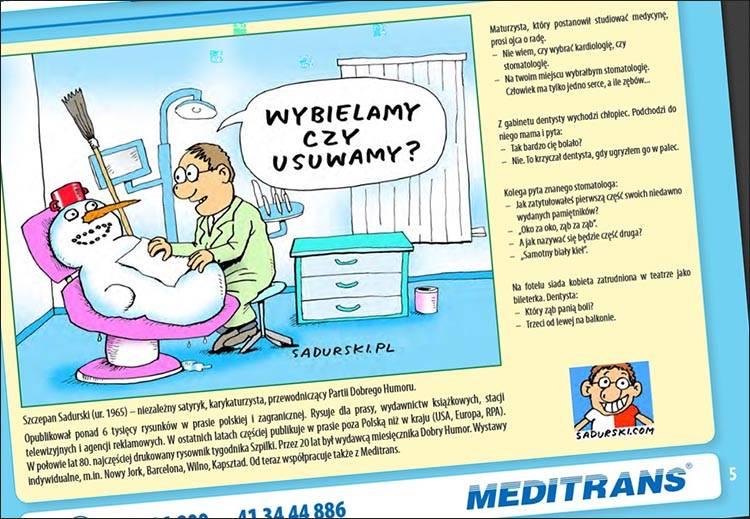 rysunki ilustracje rubryka z humorem humor satyra gazeta prasa czasopismo rysunki o dentystach