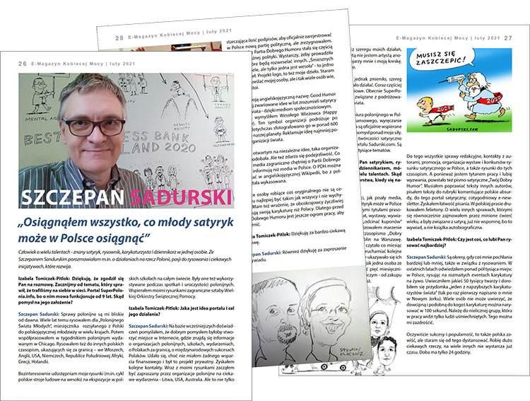 Szczepan Sadurski wywiad rysunki satyryk kobiety karykaturzysta